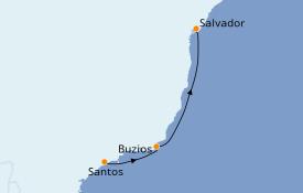 Itinéraire de la croisière Amérique du Sud 4 jours à bord du MSC Grandiosa