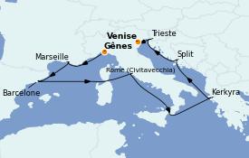 Itinerario de crucero Mediterráneo 10 días a bordo del Costa Luminosa