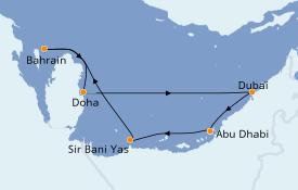 Itinéraire de la croisière Dubaï - Emirats 8 jours à bord du MSC Bellissima