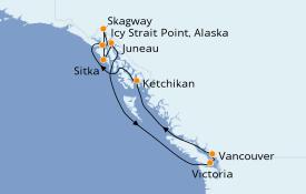Itinéraire de la croisière Alaska 11 jours à bord du Seven Seas Explorer
