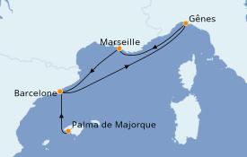 Itinéraire de la croisière Méditerranée 5 jours à bord du MSC Divina