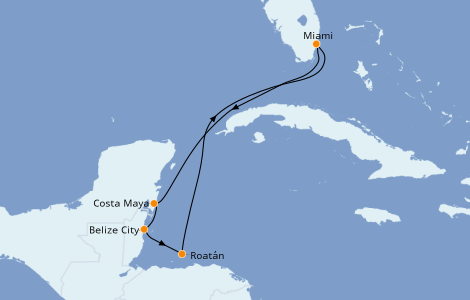 Itinéraire de la croisière Caraïbes de l'Ouest 7 jours à bord du Carnival Sunrise