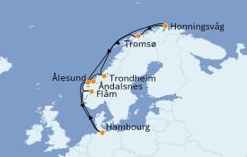 Itinéraire de la croisière Fjords & Norvège 12 jours à bord du MSC Preziosa