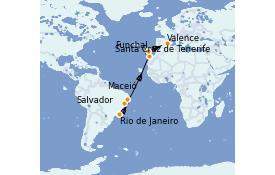 Itinéraire de la croisière Transatlantiques et Grands Voyages 2022 15 jours à bord du MSC Seaside