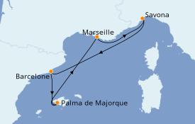 Itinéraire de la croisière Méditerranée 6 jours à bord du Costa Magica