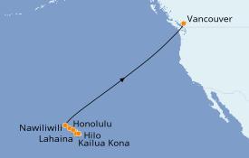 Itinéraire de la croisière Hawaii 11 jours à bord du Radiance of the Seas