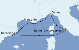 Itinéraire de la croisière Méditerranée 6 jours à bord du MSC Magnifica