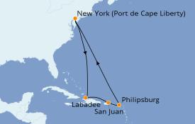 Itinéraire de la croisière Caraïbes de l'Est 10 jours à bord du Anthem of the Seas