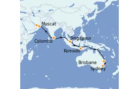 Itinéraire de la croisière Tour du Monde 2022 23 jours à bord du Coral Princess