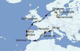 Itinéraire de la croisière Méditerranée 13 jours à bord du MSC Musica