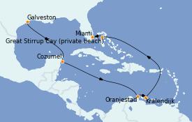 Itinéraire de la croisière Caraïbes de l'Est 12 jours à bord du Norwegian Prima