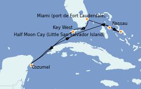 Itinéraire de la croisière Bahamas 8 jours à bord du ms Nieuw Amsterdam