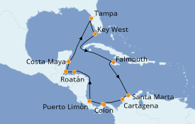 Itinéraire de la croisière Caraïbes de l'Ouest 15 jours à bord du Norwegian Dawn