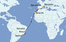 Itinéraire de la croisière Transatlantiques et Grands Voyages 2022 19 jours à bord du Costa Toscana