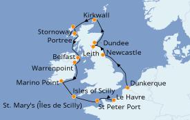 Itinéraire de la croisière Îles Britanniques 14 jours à bord du Jules Verne