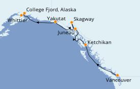 Itinéraire de la croisière Alaska 8 jours à bord du Pacific Princess
