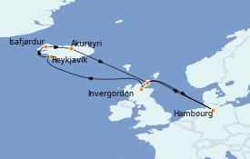 Itinéraire de la croisière Exploration polaire 12 jours à bord du MSC Orchestra
