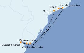 Itinéraire de la croisière Amérique du Sud 13 jours à bord du Azamara Quest