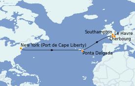 Itinéraire de la croisière Transatlantiques et Grands Voyages 2022 12 jours à bord du Anthem of the Seas