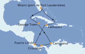 Itinéraire de la croisière Caraïbes de l'Ouest 11 jours à bord du Crown Princess