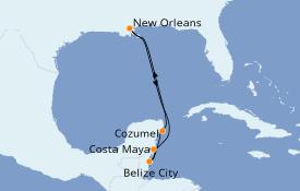 Itinéraire de la croisière Caraïbes de l'Ouest 7 jours à bord du Carnival Glory