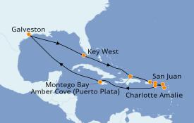 Itinéraire de la croisière Caraïbes de l'Est 15 jours à bord du Carnival Dream