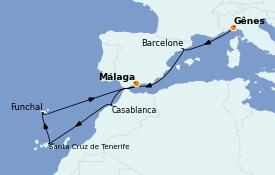 Itinéraire de la croisière Méditerranée 9 jours à bord du MSC Poesia