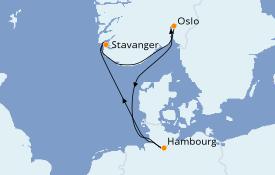 Itinéraire de la croisière Fjords & Norvège 6 jours à bord du Queen Mary 2