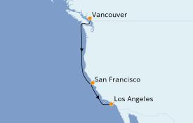 Itinéraire de la croisière Californie 6 jours à bord du Majestic Princess