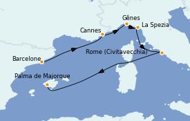 Itinerario de crucero Mediterráneo 7 días a bordo del MSC Grandiosa