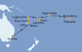 Itinéraire de la croisière Australie 2020 17 jours à bord du Norwegian Jewel