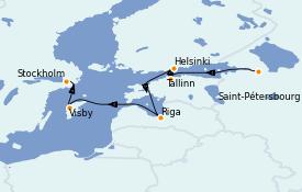 Itinéraire de la croisière Mer Baltique 10 jours à bord du Le Jacques Cartier