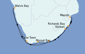 Itinéraire de la croisière Afrique 15 jours à bord du MS Nautica