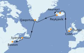 Itinéraire de la croisière Transatlantiques et Grands Voyages 2020 15 jours à bord du Celebrity Summit