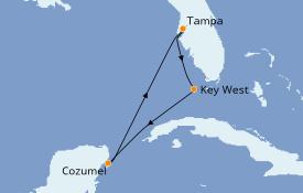 Itinéraire de la croisière Caraïbes de l'Ouest 6 jours à bord du ms Veendam