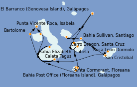 Itinerario de crucero Islas Galápagos 12 días a bordo del Silver Origin