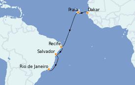 Itinerario de crucero Suramérica 17 días a bordo del MS World Explorer