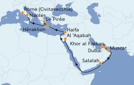 Itinéraire de la croisière Transatlantiques et Grands Voyages 2021 22 jours à bord du Costa Diadema