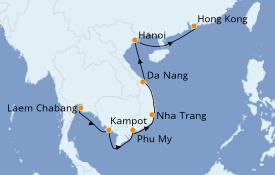 Itinéraire de la croisière Asie 10 jours à bord du Norwegian Sun