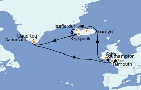 Itinéraire de la croisière Exploration polaire 17 jours à bord du Island Princess