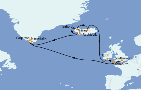 Itinéraire de la croisière Exploration polaire 16 jours à bord du Island Princess