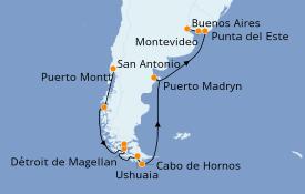 Itinéraire de la croisière Amérique du Sud 16 jours à bord du Celebrity Eclipse