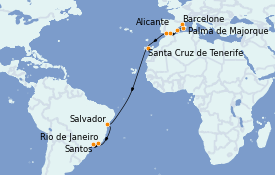 Itinéraire de la croisière Transatlantiques et Grands Voyages 2021 17 jours à bord du MSC Sinfonia