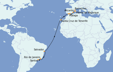 Itinéraire de la croisière Transatlantiques et Grands Voyages 2021 16 jours à bord du MSC Sinfonia