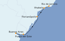 Itinéraire de la croisière Amérique du Sud 8 jours à bord du Silver Wind