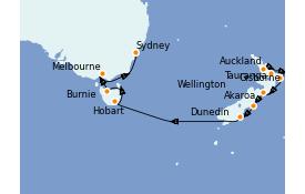 Itinéraire de la croisière Australie 2022 15 jours à bord du ms Oosterdam
