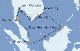 Itinéraire de la croisière Asie 12 jours à bord du Grand Princess