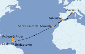 Itinéraire de la croisière Transatlantiques et Grands Voyages 2021 14 jours à bord du Costa Favolosa