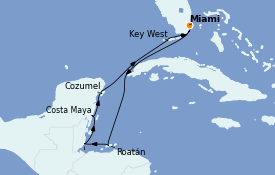 Itinéraire de la croisière Caraïbes de l'Ouest 8 jours à bord du Seven Seas Mariner