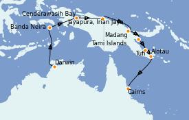 Itinéraire de la croisière Australie 2021 17 jours à bord du Le Lapérouse